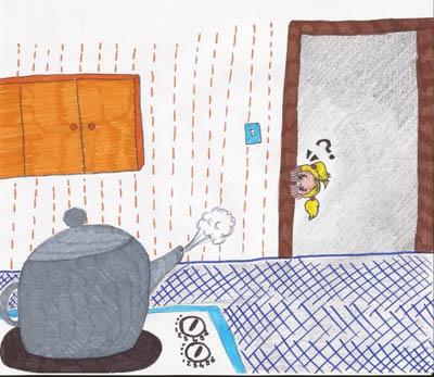 Terug by die huis, hoor Frieda hoe die ketel fluit. Sy hardloop kombuis en en luister, maar nee, dit is nie haar fluit nie.