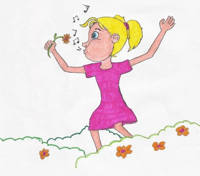 """Die volgende oggend gaan Frieda en haar ma kwekery toe. Daar is baie mooi blommetjie by die kwekery.  Frieda haal diep asem in. Sy ruik die blommetjies. Skielik kan sy weer fluit. """"Mamma! Ek het my fluit teruggekry!"""" roep Frieda. Frieda fluit en fluit en fluit.  Fluit, fluit, die storie is uit."""