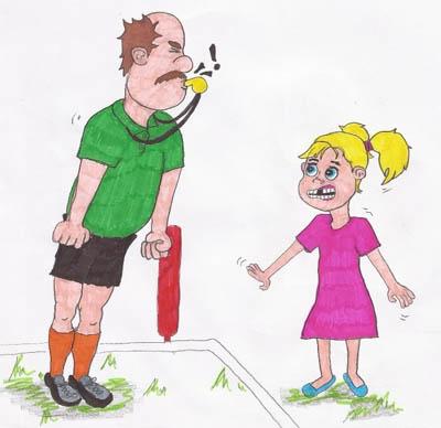 """""""Ek weet nie. Hoor gou of dit jou fluit is."""" Die skeidsregter blaas op sy fluitjie, maar nee, dit is nie Frieda se fluit nie."""